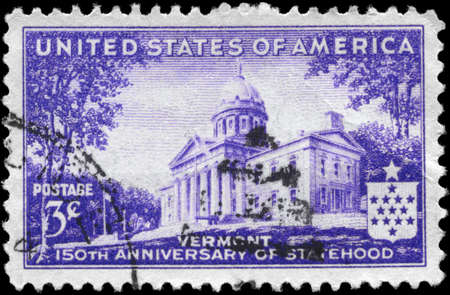 statehood: USA - CIRCA 1941: A Stamp printed in USA shows Vermont Capitol, Montpelier, Vermont Statehood Issue, circa 1941 Stock Photo
