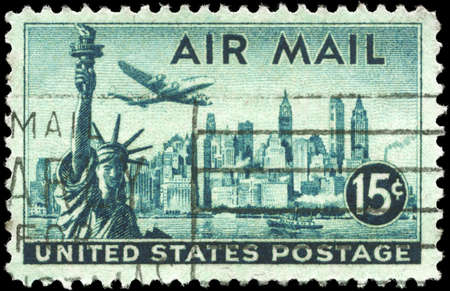 USA - CIRCA 1947: A Stamp printed in USA shows Statue of Liberty & New York Skyline, circa 1947 photo