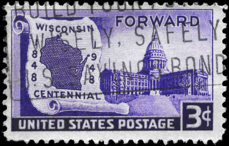 statehood: USA - CIRCA 1948: A Stamp printed in USA shows Map on Scroll & State Capitol, Wisconsin Statehood Issue, circa 1948