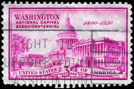 establishment states: USA - CIRCA 1950: A Stamp printed in USA shows United States Capitol, 150th anniv. of the establishment of the National Capital, circa 1950