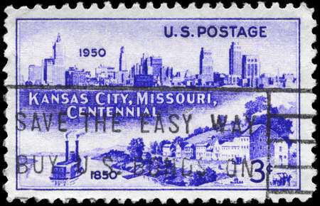 missouri: USA - CIRCA 1950: A Stamp printed in USA shows Kansas City Skyline, 1950 and Westport Landing, 1850, Incorporation of Kansas City, centennial, circa 1950