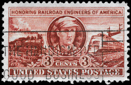casey: USA - CIRCA 1950: A Stamp printed in USA shows &quot,Casey&quot, John Luther Jones and Locomotives of 1900 and 1950, Railroad Engineers Issue, circa 1950 Editorial