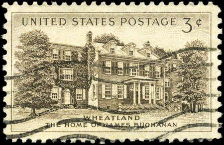president???s: USA - CIRCA 1956: Un timbro stampato in USA mostra Presidente Buchanan�, s Home, �, Wheatland, �, Lancaster, circa 1956