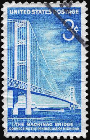 mackinac: USA - CIRCA 1958: A Stamp printed in USA shows Mackinac Bridge, familiarly known as Big Mac and Mighty Mac, circa 1958 Stock Photo