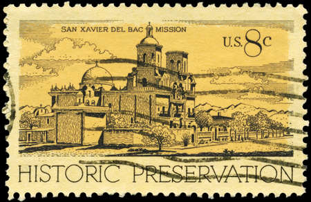 USA - CIRCA 1971: A Stamp printed in USA shows San Xavier del Bac Mission, Tucson, Historic Preservation Issue, circa 1971 Stock Photo - 13160700