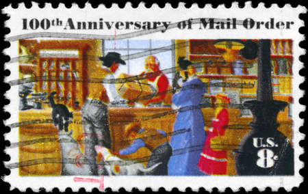 mail order: USA - CIRCA 1972: A Stamp printed in USA shows the Rural Post Office Store, Mail Order Issue, circa 1972 Stock Photo