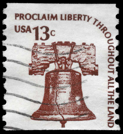 USA - CIRCA 1975: A Stamp printed in USA shows the Liberty Bell, series, circa 1975 photo
