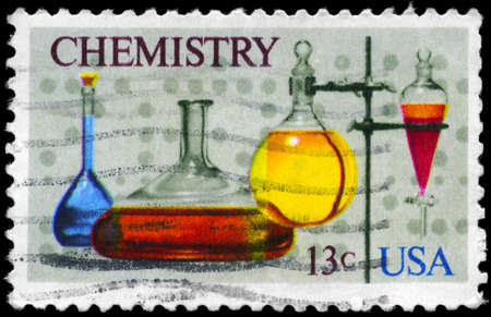 USA - CIRCA 1976: A Stamp printed in USA shows the various Flasks, separatory Funnel, computer Tape, Chemistry Issue, circa 1976 Stok Fotoğraf