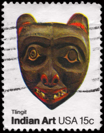 tlingit: USA - CIRCA 1980: A Stamp printed in USA shows the Mask of Tlingit tribe, Pacific Northwest Indian Masks, American Folk Art Series, circa 1980 Stock Photo