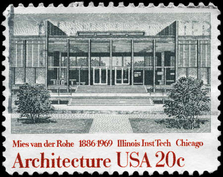 ludwig: USA - CIRCA 1982: A Stamp printed in USA shows Illinois Institute of Technology, by Ludwig Mies van der Rohe, American Architecture Series, circa 1982