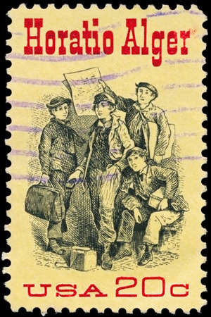 alger: USA - CIRCA 1982: A Stamp printed in USA shows the Frontispiece from &quot Ragged Dick&quot by Horatio Alger (1832-1899), american Author, circa 1982 Editorial