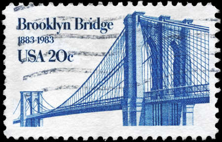 bridges: USA - CIRCA 1983  A Stamp printed in USA shows Brooklyn Bridge, circa 1983