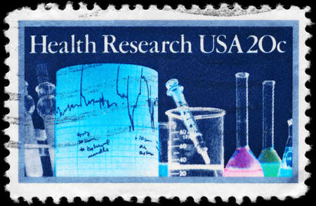 USA - CIRCA 1984  A Stamp printed in USA shows the Lab Equipment, Health Research Issue, circa 1984 Stock Photo - 13162208