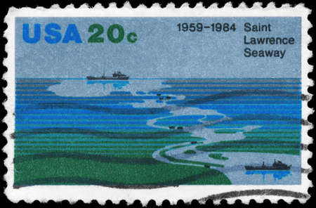 shipway: USA - CIRCA 1984  A Stamp printed in USA shows aerial view of Seaway, Freighters, 25th Anniversary of Saint Lawrence Seaway, circa 1984