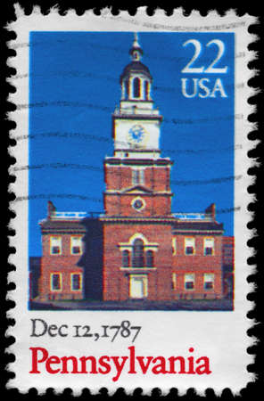 ratification: USA - CIRCA 1987  A Stamp printed in USA shows old Building, Pennsylvania, Ratification of the Constitution series, circa 1987 Stock Photo