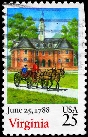 ratification: USA - CIRCA 1988  A Stamp printed in USA shows Horse Carriage and Building, Virginia, Ratification of the Constitution series, circa 1988