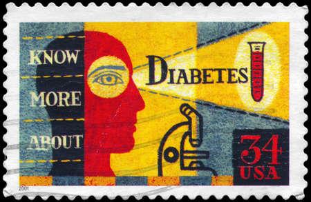 diabetes: EE.UU. - CIRCA 2001 Un sello impreso en los EE.UU. muestra la imagen sobre la conciencia de la diabetes, alrededor del a�o 2001
