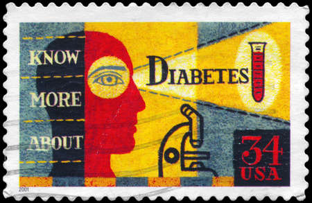 USA - CIRCA 2001  A Stamp printed in USA shows the picture about Diabetes Awareness, circa 2001