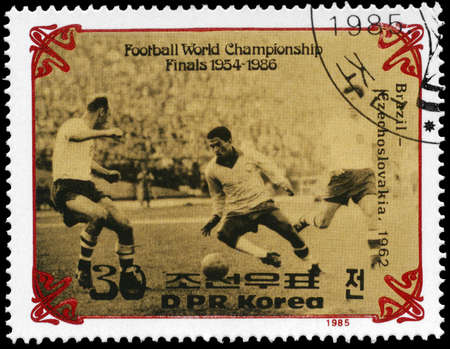 NORTH KOREA - CIRCA 1985: A Stamp printed in NORTH KOREA shows the Final of World Cup Soccer Championships, Brazil vs. Czechoslovakia (1962), circa 1985 photo