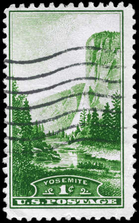 USA - CIRCA 1934: A Stamp printed in USA shows EL Capitan Yosemite (California), National Parks Issue, circa 1934 photo