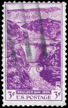 USA - CIRCA 1935: A Stamp printed in USA shows the Boulder Dam, circa 1935 photo