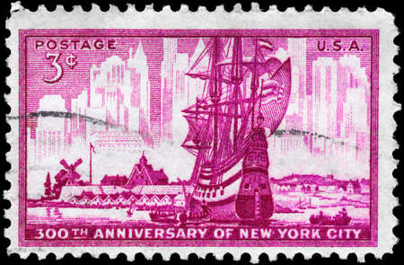 USA - CIRCA 1953: A Stamp printed in USA shows the dutch Ship in New Amsterdam Harbor, New York City, 300th Anniversary, circa 1953 photo