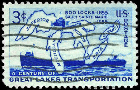 erie: USA - CIRCA 1955: A Stamp printed in USA shows the Map of Great Lakes and two Steamers, Soo Locks Opening, Centenary, circa 1955