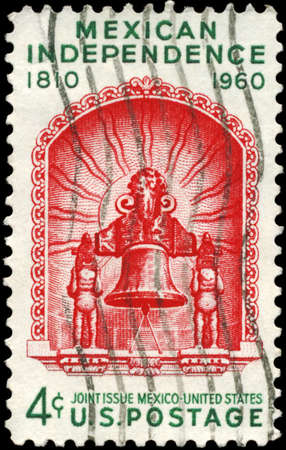USA - CIRCA 1960 : A Stamp printed in USA shows the Liberty Bell, devoted to 150th anniversary of Mexican independence, circa 1960 photo