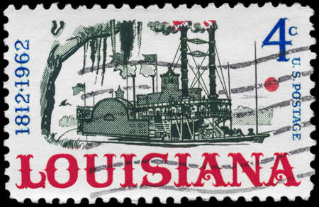 statehood: USA - CIRCA 1962: A Stamp printed in USA shows the Riverboat on the Mississippi, Louisiana Statehood Sesquicentennial, circa 1962 Stock Photo