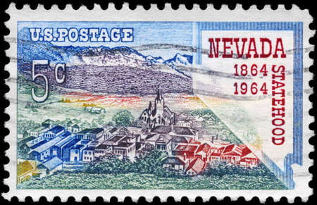 statehood: USA - CIRCA 1964: A Stamp printed in USA shows Virginia City and Map of Nevada, Statehood Centenary, circa 1964 Stock Photo