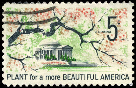 beautification: USA - CIRCA 1966: A Stamp printed in USA shows Jefferson Memorial, Beautification of America Issue, circa 1966