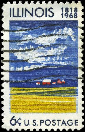 statehood: USA - CIRCA 1968: A Stamp printed in USA shows Farm House & Fields of Ripening Grain, Illinois Statehood, 150th Anniversary, circa 1968