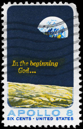 astronautics: USA - CIRCA 1969: A Stamp printed in USA shows the Moon Surface and Earth, Apollo 8 Issue, circa 1969