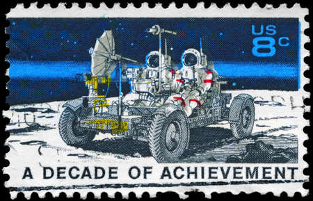 USA - CIRCA 1971: A Stamp printed in USA shows the Lunar Rover, Apollo 15 moon exploration mission July 26-August 7, Space Achievement Decade Issue, circa 1971