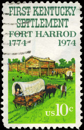 USA - CIRCA 1974: A Stamp printed in USA shows Oxcart and Fort Harrod, Kentucky Settlement Issue, circa 1974 photo