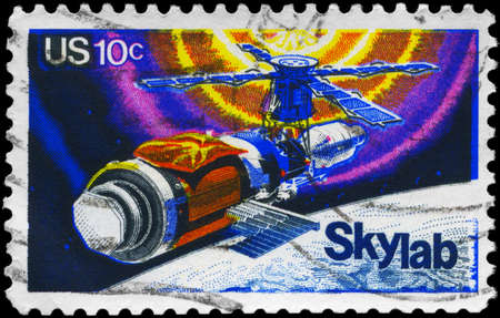 orbital spacecraft: USA - CIRCA 1974: A Stamp printed in USA shows the Skylab Space Station, circa 1974