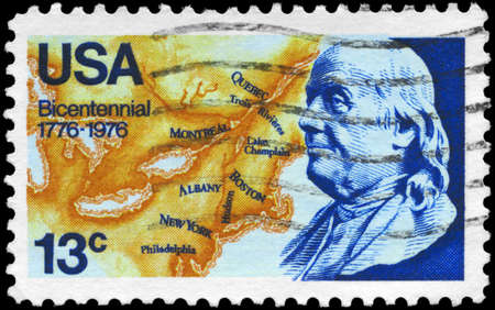 USA - CIRCA 1976: A Stamp printed in USA shows Benjamin Franklin and Map of North America, circa 1976 Stock Photo - 14011667