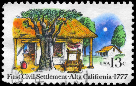 USA - CIRCA 1977: A Stamp printed in USA shows the Farm Houses, 1st civil settlement in Alta California, 200th anniversary, circa 1977 photo