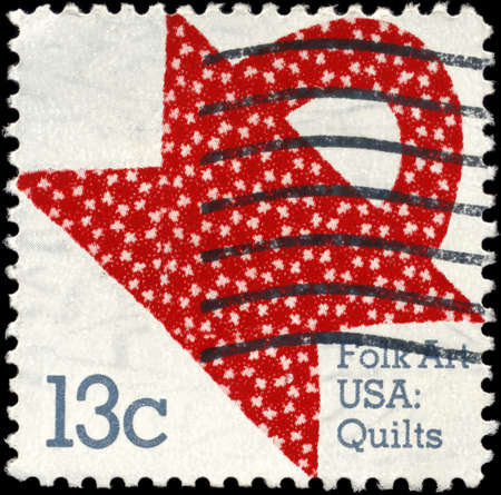 USA - CIRCA 1978: A Stamp printed in USA shows the American Quilts, Basket Design, American Folk Art Series, circa 1978
