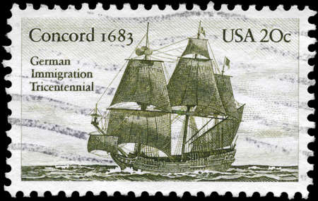 USA - CIRCA 1983: A Stamp printed in USA shows the Sailer Concord (1683), German immigration tricentennial, circa 1983 photo