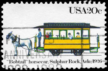 the occupant: USA - CIRCA 1983: A Stamp printed in USA shows the Bobtail horsecar, Sulphur Rock, Arkansas, Streetcars, circa 1983