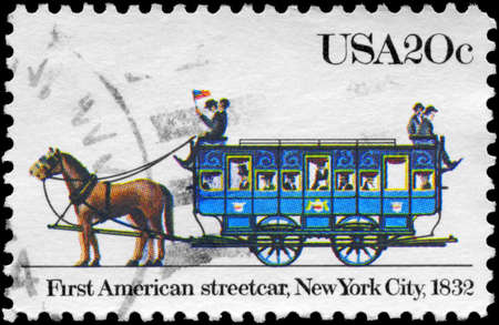 USA - CIRCA 1983: A Stamp printed in USA shows the first American streetcar, New York City, 1832, series, circa 1983 Stock Photo - 14011662