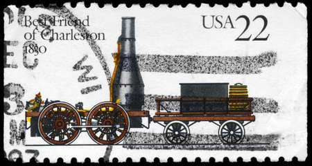 USA - CIRCA 1983: A Stamp printed in USA shows the first locomotive