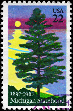 statehood: USA - CIRCA 1987: A Stamp printed in USA shows the White Pine, Michigan Statehood Sesquicent, circa 1987