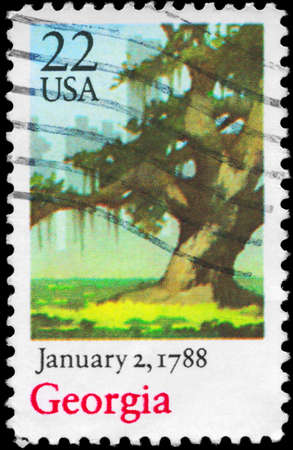 ratification: USA - CIRCA 1988: A Stamp printed in USA shows Oak Tree, Georgia, Ratification of the Constitution series, circa 1988