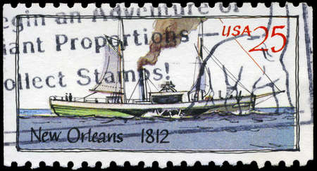 USA - CIRCA 1989: A Stamp printed in USA shows the Ship New Orleans (1812), Steamboats series, circa 1989 photo