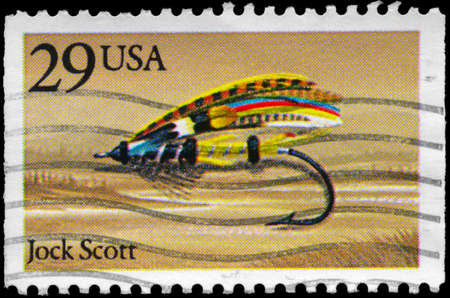 jock: USA - CIRCA 1991: A Stamp printed in USA shows the Jock Scott Fly, Fishing Flies series, circa 1991 Stock Photo
