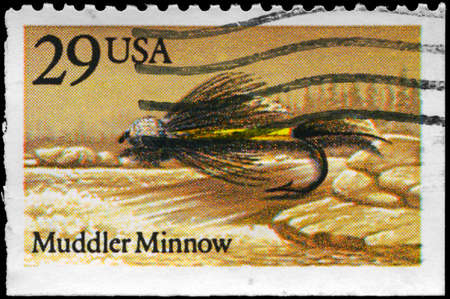 USA - CIRCA 1991: A Stamp printed in USA shows the Muddler Minnow Fly, Fishing Flies series, circa 1991 photo