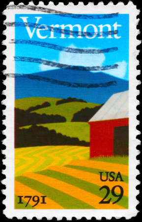 statehood: USA - CIRCA 1991: A Stamp printed in USA shows the Landscape, Vermont Statehood Bicentennial, circa 1991