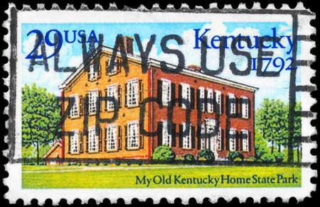 statehood: USA - CIRCA 1992: A Stamp printed in USA shows Kentucky Home State Park, Statehood Bicentennial, circa 1992 Stock Photo